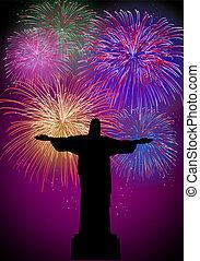 brésil, feux artifice, rio, année, nouveau, heureux