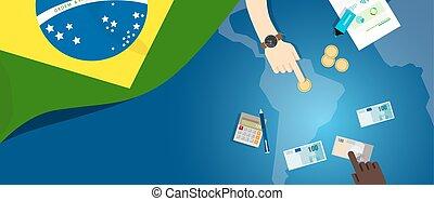 brésil, fiscal, concept, financier, carte, argent, budget, illustration, commercer, monnaie, drapeau, banque