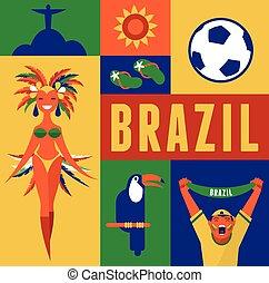 brésil, fond, illustration, icônes