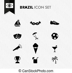 brésil, football, ensemble, icônes