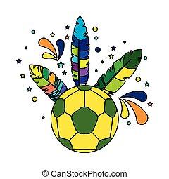 brésil, football, plumes, balle