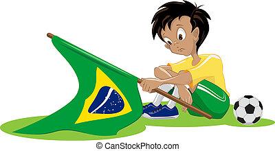 brésil, football, ventilateur, triste