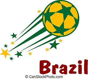 brésil, football, voler, balle, football, ou