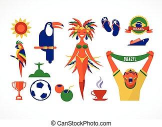 brésil, illustration, icônes