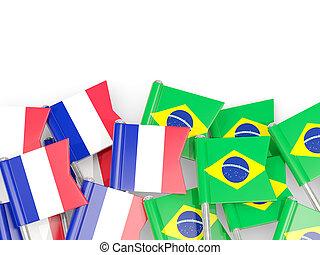brésil, isolé, france, drapeaux, white., epingles