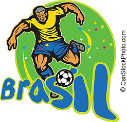 brésil, joueur boule, football, donner coup pied, retro