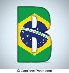 brésil, lettres, alphabet, drapeau, mots, brésilien