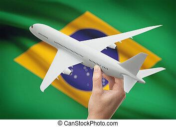 brésil, -, main, drapeau, fond, avion
