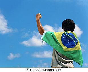 brésil, main haut, supporter