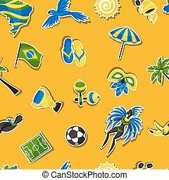 brésil, modèle, autocollant, seamless, symboles, culturel, objets