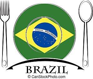 brésil, nourriture, drapeau, fait, logo