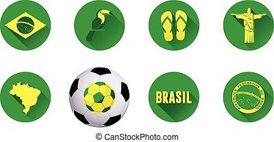 brésil, plat, 2.eps, ensemble, icône