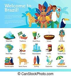 brésil, plat, infographic, affiche, voyageurs