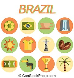 brésil, plat, set., icône, design.