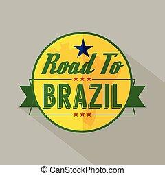 brésil, route, label.