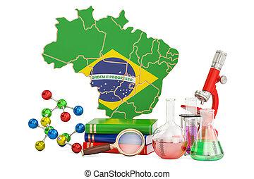 brésil, scientifique, concept, recherche, rendre, 3d