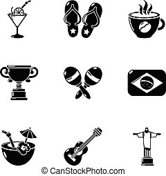brésil, style, icônes, ensemble, loisir, simple