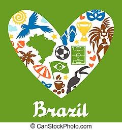 brésil, stylisé, symboles, culturel, objets, fond