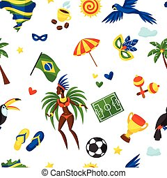 brésil, symboles, modèle, seamless, stylisé, culturel, objets