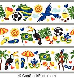 brésil, symboles, seamless, stylisé, culturel, objets, frontières