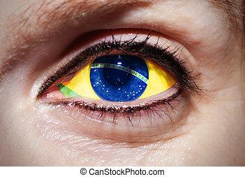 brésil, tasse oeil, drapeau, mondiale, 2014