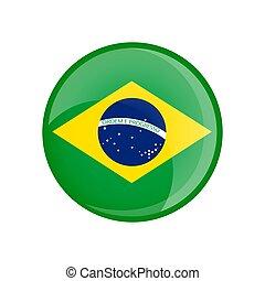 brésil, transparent, drapeau, button., forme., verre, lustré, cercle