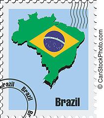 brésil, vecteur, timbre