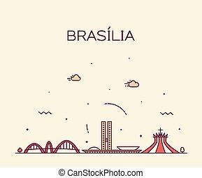 brésil, ville, style, linéaire, brasilia, vecteur, horizon