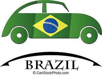 brésil, voiture, drapeau, fait, icône