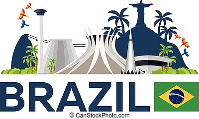 brésil, voyage, vecteur, illustration., skyline.