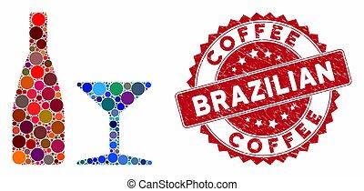brésilien, cachet, café, collage, boisson, détresse