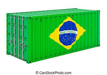 brésilien, cargaison, 3d, rendre, drapeau, récipient