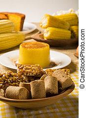 brésilien, junina, bonbons, typique, fête