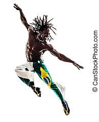 brésilien, noir, danseur, danse, sauter