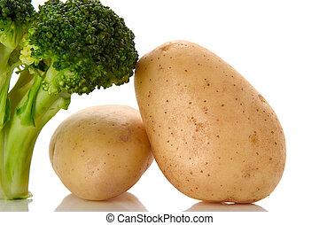 brócolos, e, batatas