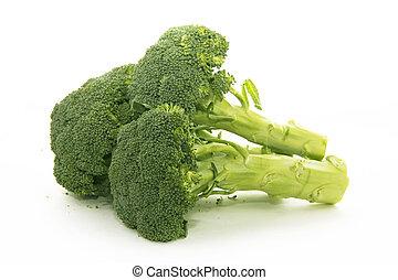 brócolos, isolado, branco, fundo