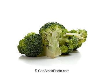 brócolos, ligado, um, fundo branco