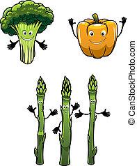 bróculi, espinaca, y, pimienta, vegetales