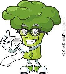 bróculi, listo, sirva, caricatura, cara, divertido, menú, verde