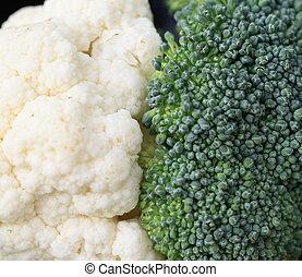 bróculi, y, coliflor