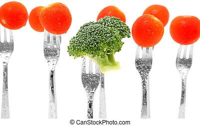 bróculi, y, tomates