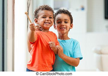 bröder, afrikansk, tillsammans, amerikan, barn spela