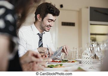 bröllop, ätande mål, gäster