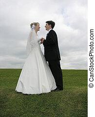 bröllop, ansikte mot ansikte