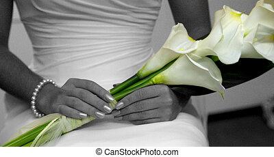 bröllop, blomningen