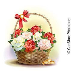 bröllop, card., ringer, och, flätverk korg, med, roses.