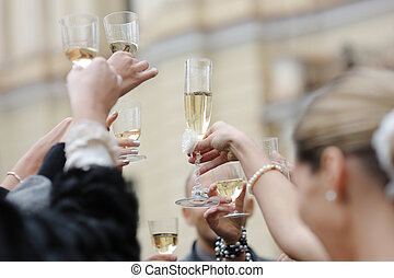bröllop, champagne, firande