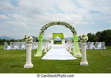 bröllop, dekoration, översikt