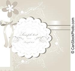 bröllop, design, kort, inbjudan