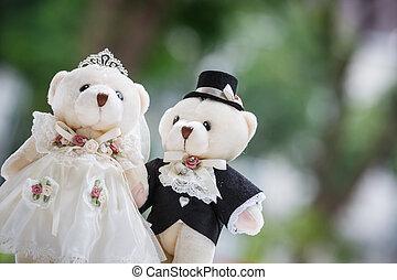 bröllop, docka